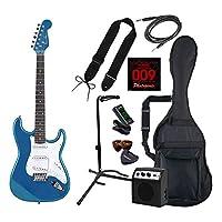 PhotoGenic フォトジェニック エレキギター 初心者入門ライトセット ストラトキャスタータイプ ST-180/MBL メタリックブルー + ギタースタンド付き
