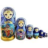 ティアラをつけるの女の子 青色と金色の胴体 童話の模様 マトリョーシカ人形 マトリョーシカ 手業 手塗り 木製品 7個組 誕生日プレゼント 贈り物 子供のおもちゃ 飾り物 置物 期間限定
