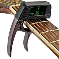 hootech チューナー クリップ式 ギター クロマチック 弦楽器 クリップ式チューナー 操作簡単 簡単装着 ベース (ブラウン)