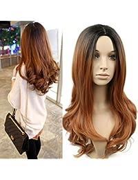 CATYAA かつら 女性 巻き髪 化学繊維 グラデーションの色 (ブラックゴールド グラデーション、黒ブラウン グラデーション) (Color : Black gold gradient)