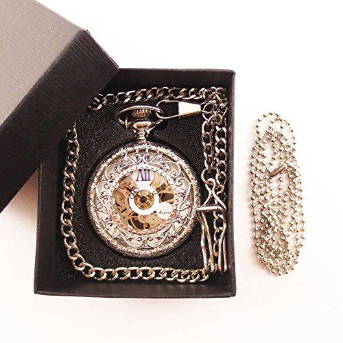 『手巻き式 懐中時計 フックチェーン + ボールチェーン/ 革紐 + 化粧箱 セット (シルバー)』の6枚目の画像
