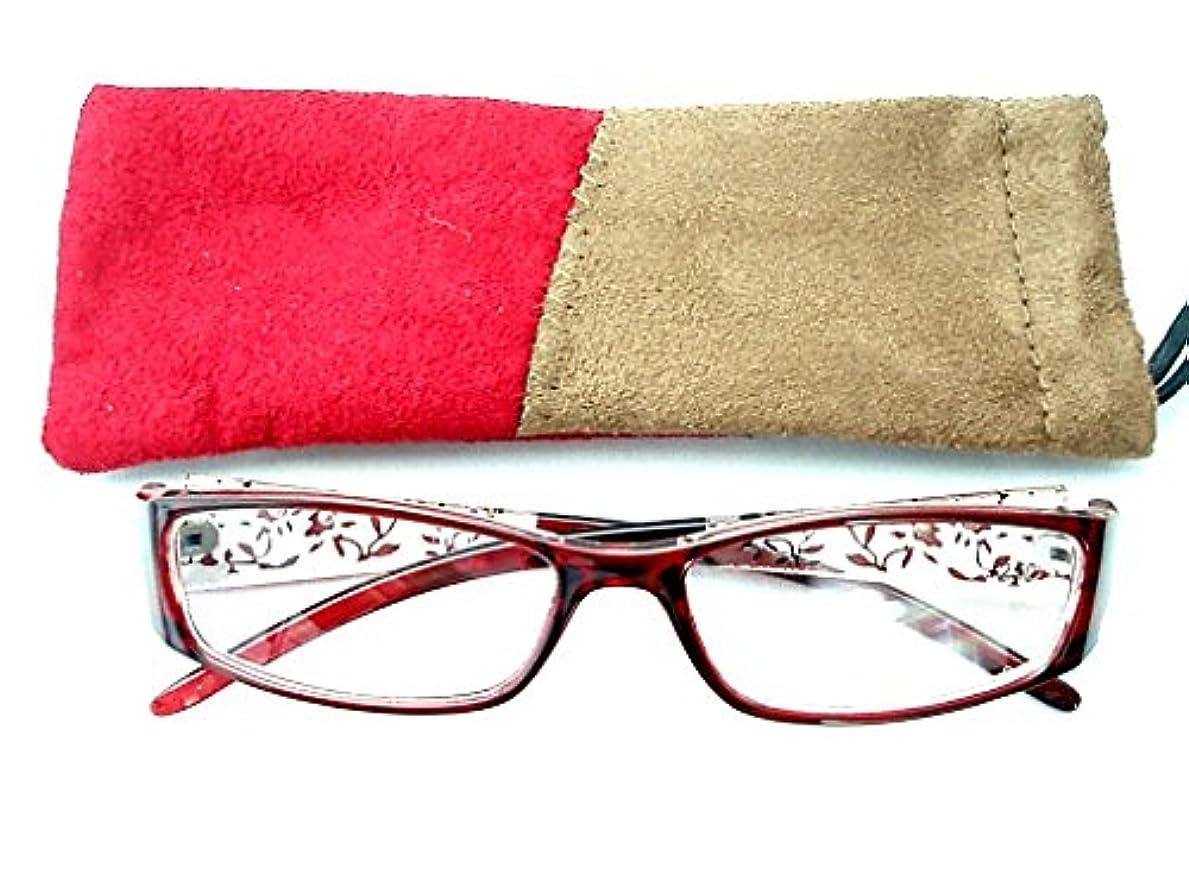 細やかな花柄とラインストーンがステキな老眼鏡 ケース付き 101(+1.0, レッド)