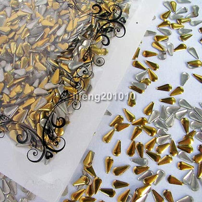 復活悲観的おFidgetGear ドロップ形状アクリル3dメタルネイルアートデコレーションラインストーンメタリックネイルスタッド 銀