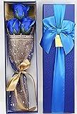 【kshop】 花 プレゼント 造花 クリスマス バレンタインデー ホワイトデー 父の日 母の日 誕生日 等 お祝い 時の プレゼント に最適 薔薇の花束 【 青 3本 】