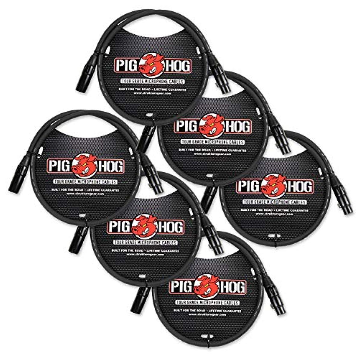 キャプテン耳話Pig Hog PHM3 8mm ツアーグレードマイクケーブル、XLR 3フィート - 6個パック