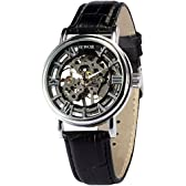 [エーエムピーエム24]AMPM24 シルバー ケース ローマ文字 スケルトン メンズ 手巻き 機械式 レザーバンド 腕時計 PMW243