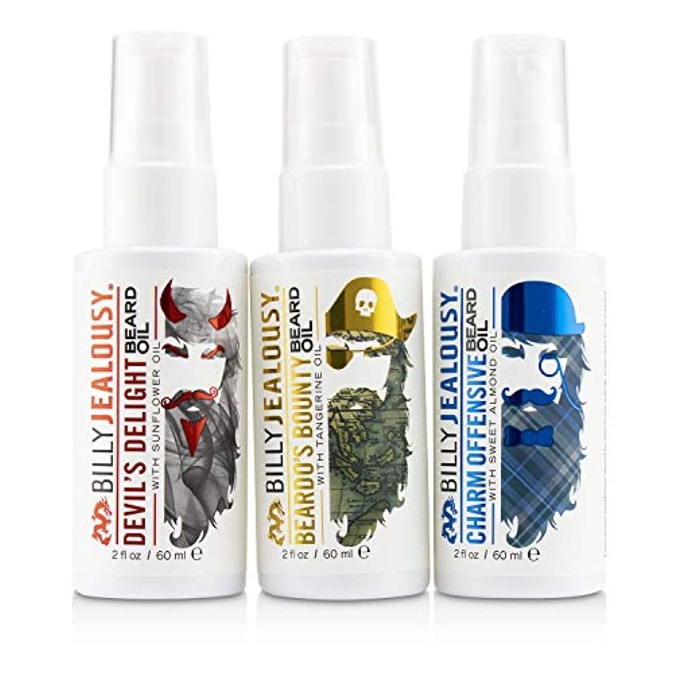テーブルを設定する昆虫城ビリージェラシー 3 Amigos Beard Oil Trio Set : 1x Beardo's Bounty 60ml + 1x Devil's Delight 60ml + Charm Offensive 3pcs...
