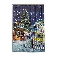 シャワーカーテン 防水 防カビ 加工 浴室 カーテン 風呂カーテン 町 クリスマス おしゃれ かわいい 防水 間仕切り 遮像 目隠し用 リング付属 取り付け簡単 120×180cm 北欧 Mskyoo