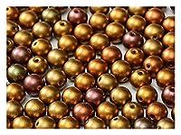 100 3ミリメートルチェコラウンドは、古代ゴールド(イエローゴールドメタリックアイリス)ガラスビーズを押します(100 3mm Czech Round pressed glass beads, Ancient Gold (Yellow Gold Metallic Iris))