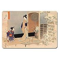 浮世絵 捺印マット UNM-11012 水野年方 - 茶の湯日々草 後入りしらせの図