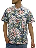 [ルーシャット] アロハシャツ コットン 裏使い 総柄プリントシャツ ライトネイビー M
