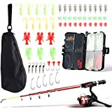 SupsShop Kids Fishing Rod and Reel Combo Full Kit,1.3M/1.6M Telescopic Fishing Pole Fishing Gear Spinning Reel with Carrier Bag for Beginner Youth Travel Outside Saltwater Freshwater
