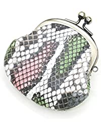 TEZOME-PY1272-P02 手染めパイソン革「蛇革」 ミニがま口 Ver.2:P02 グレー?ピンク?グリーン