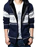 (ベクー)Bekoo メンズ ジップ ニット カーディガン パーカー フード 付き カウチン セーター (02 藍花 L)
