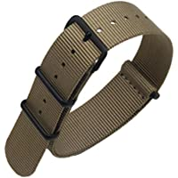 Khaki High-end Superior Nato style Ballistic Nylon Watch Band Strap Replacement for Men Braided
