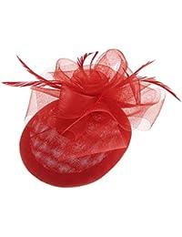 GEMVIE レディース ヘッドドレス メッシュ花飾り 無地 ヘアクリップ ウェディングハット 髪飾り 結婚式 パーティー カクテルハット 欧米風 レッド