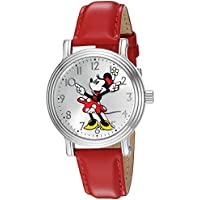 Disney Minnie Mouse Women's Silver Vintage Alloy Watch, Red Leather Strap, W002760