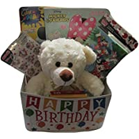 Girls Happy誕生日Teddy Bear with Coloring Bookクレヨンペイントwith水 style