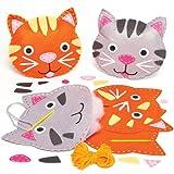 かわいいネコ フェルト ミニクッション 手作りキット(2個入り)子どもたちの手作りに、簡単な手芸に