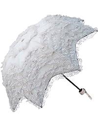 Spinas(スピナス) レディース レース 折りたたみ 傘 晴雨兼用 三つ折り 5段 レース 日傘 フリル プリンセス UV カット 全5色 (ブラック ホワイト ピンク ブルー ライムグリーン)