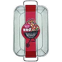 TableCraft BBQ1511 BBQ Rectangular Grilling Basket with Handle, Silver, Medium [並行輸入品]
