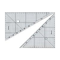 (まとめ) ステッドラー レイアウト用方眼三角定規 24cm 45°・60°ペア 966 24 1組 【×4セット】 ds-1583455