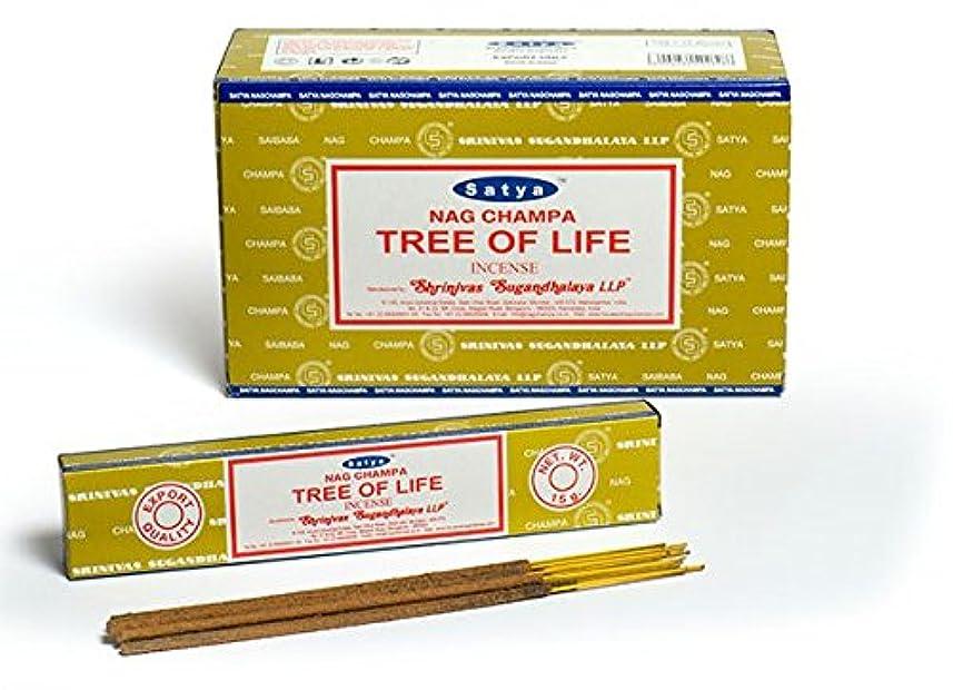 冷淡な元気散歩Satya Nag Champa 生命の樹 お香スティック Agarbatti 180グラムボックス | 12パック 15グラム/箱入り | 輸出品質