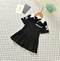 キッズ ワンピース 半袖ワンピース 子供服 可愛い 女の子 春 夏 姉妹 (ブラック, 130)