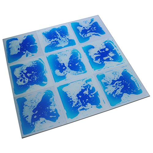 "Art3d Fancy Floor Tile For Kids Room Liquid Encased Floor Tile, 12"" X 12"" Blue [並行輸入品]"