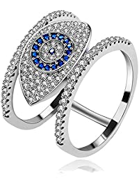 Uloveido Fashion Pave Round Cubic Zirconia Cluster Blue Evil Eye Illuminati Rings for Women Girls (Size 6 7 8 9) Y325B