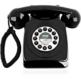 Retro Design Corded Landline Phone - Classic Vintage Old Fashioned Rotary Dial Style Desk Table Home Office Coiled Cord Hands