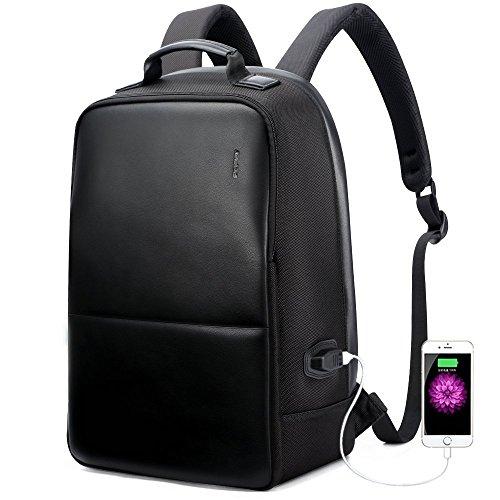 BOPAI リュックサック メンズ USB充電ポート付き 盗難防止 PCバッグ 防水 ブラック
