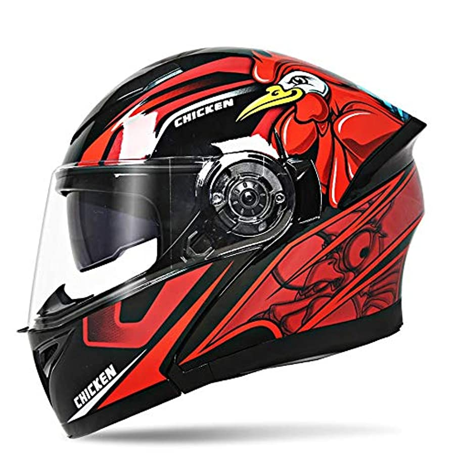 期待渇き革命的HYH 赤と黒のカラーマッチングフルカバーヘルメット男性オートバイダブルレンズオープンフェイスヘルメット機関車フルフェイスヘルメット四季ユニバーサルチキンパターン いい人生 (Size : XL)
