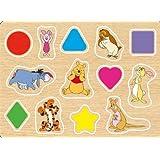 ディズニーキャラクター すくすく木製パズル 13ピース プーさんとかたちをまなぼう DCM-13-812