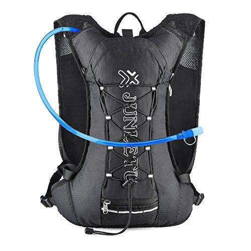 サイクリング バックパックZZOU ランニングバッグ 超軽量 自転車 バッグ アウトドアスポーツバッグ 登山ウォーターバッグ 自転車ショルダー ユニセックス 光反射 通気 防水 ウォーキング ハイキング ジョギング (黒色)