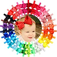 JOYOYO 30Pcs Colors 4.5 inches Grosgrain Ribbon Baby Girls Hair Bows Headbands for Infants Newborn and Toddlers