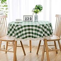 テーブルクロス 北欧 おしゃれ 綿麻 円形 直径140cm テーブルカバー チェック柄 レース付 シンプル 食卓カバー 防塵 耐熱 ナチュラル 雰囲気 新築お祝い 贈り物