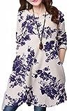 長袖 Rネック コットンプリント チュニック ワンピース 綿 花柄 ドレス ゆったり ふんわり 大きいサイズ 体型カバー ざっくり すっぽり ゆるめ めちゃカワ ミニワンピ(藍色L)
