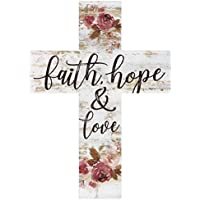 Faith Hope & Love Floral Whitewash 5 x 7 Solid Pine Wood Wall Hanging Cross