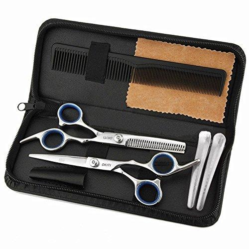 OKITI 散髪 ヘアカット すきばさみ セット ハサミ シザー 左右 プロ 初心者 美容師 理容師 セルフカット カットはさみ ケース付