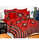Red Color Miniature Print Rajasthani Tradition Double Bed Sheet With 2 Pillow Cover