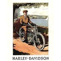ADVERTISEMENT HARLEY DAVIDSON 1913 MOTORCYCLE BIKE 30X40 CMS FINE ART PRINT ART POSTER 広告モーター自転車アートプリントポスター