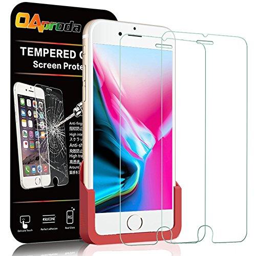 【2枚】OAproda iPhone 8/iPhone 7/iPhone 6/iPhone 6s ガラスフィルム 保護フィルム 強化液晶カバー 【日本製素材旭硝子製 】【ガイド枠付き】 貼り付け簡単/3D Touch対応/最高硬度9H/高透過率 4.7inch