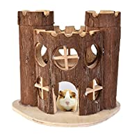 Yunt ハムスター 木製ハウス 家 ハムスター 木製 家 トレーニングルーム ジム ハムスターの巣 ハムちゃん大喜び C城 遊べる