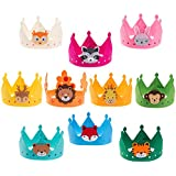 Ava & Kings 10pc Children's Felt Party Crowns - Comfortable Easy Hook and loop Design - Variety Pack Rainbow Animal Theme for Kids Parties Boys Girls Unisex Hats Goody Bags Favours & Gifts