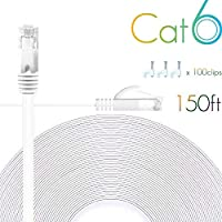 Cat 6 Ethernet Cable 150 FT Flat Internet Network Cables with Cable Clips Cat6 Ethernet Patch Cable With Snagless Rj45 Connectors White long Computer Lan Cable(150FT) [並行輸入品]