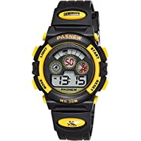 Fast Delivery Kids Boys Digital Sport Watch - 30M Waterproof Sport Yellow Silicone Watches for Girls Boys with Chronograph, Calendar, Alarm, Chime, EL Light Watches for Children