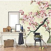 Wuyyii 壁のための中国風の壁紙3D桃の花壁壁画写真の壁紙リビングルームの寝室の壁の壁紙家の装飾-400X280Cm