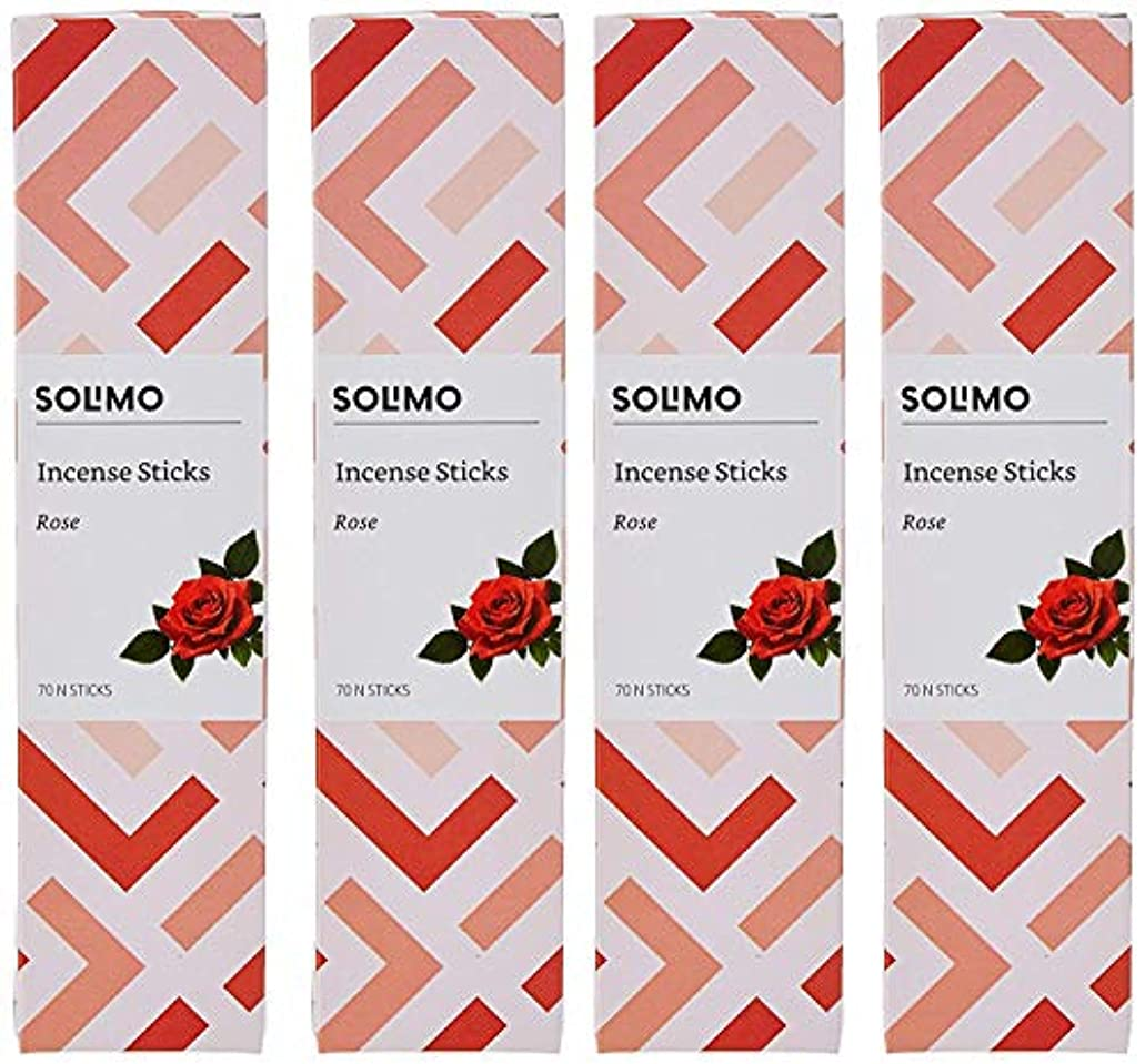 市の花記念願うAmazon Brand - Solimo Incense Sticks, Rose - 70 sticks/pack (Pack of 4)