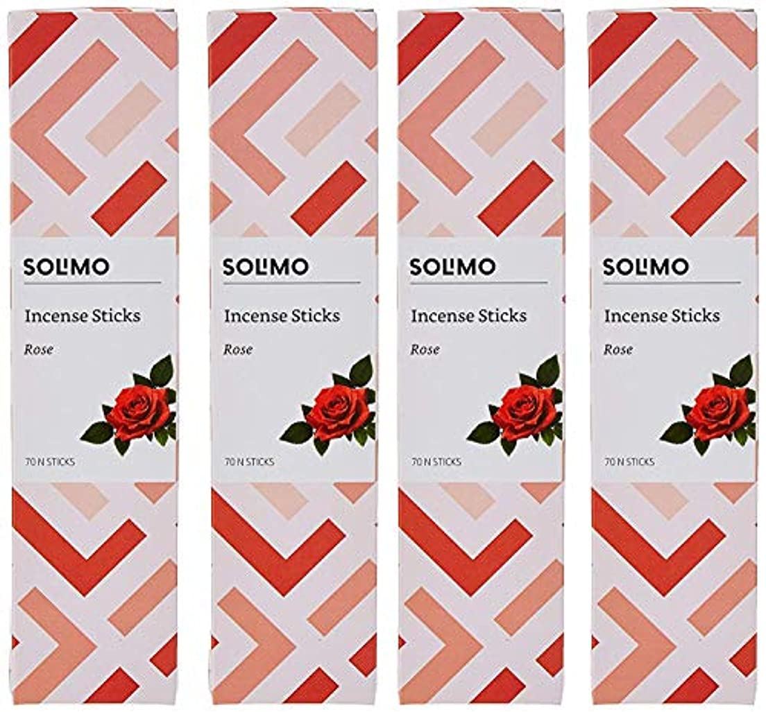 ドライブ宮殿奇跡Amazon Brand - Solimo Incense Sticks, Rose - 70 sticks/pack (Pack of 4)